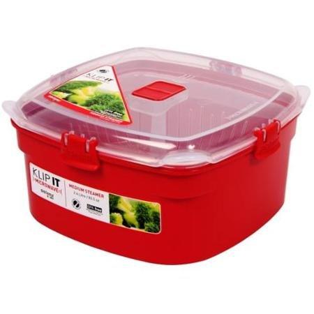 Sistema Us Inc 1102 Medium Red Rectangular Klip It Microwave Steamer