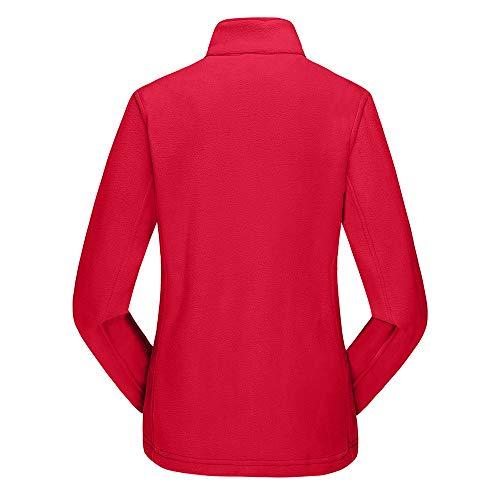 POTTOA extrieur de paississement la Molleton Femme Femme glissire Manteau Tops Button Collier Up de l'automne en Stand Blouse Ray Circulaire Rouge Tops Sport Longues Femme Manches de Hiver Tunique ryWArI7cq