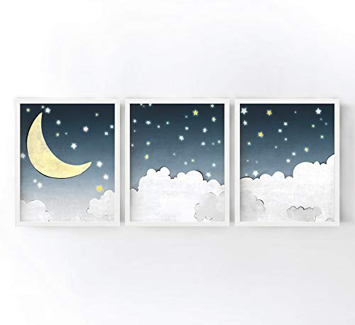 - Stars and Moon Nursery Art Prints - Kids Room Decor, Clouds, Moon and Stars, Blue Grey and Yellow Set of 3 Gender Neutral Nursery Wall Art