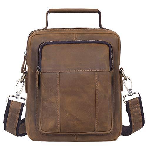 Jack&Chris Mens Genuine Leather Messenger Crossbody Bag Sling Bag Small Bag (JN8801)