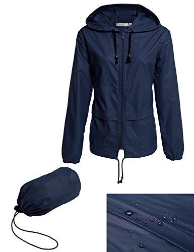 Bifast Women's Hooded Lightweigt Waterproof Rainwear Outdoor Long Slim Raincoat,Dark Blue,X-Large