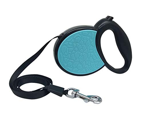 (QiCheng&LYS Retractable Dog Strap, 13ft Dog Walking Leash,for Medium-Sized Small Dogs,up to 55 lbs, no Tangles,one-Button Locking (Blue))