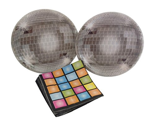 Disco Ball 70's Party Bundle with Paper Plates and Napkins for 16 Guests -