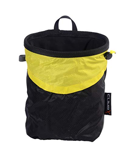 CLIMBX Fix-B Rock Climbing Bouldering Nylon Chalk Bag with Chalk Ball (Yellow/Black) (Bag Chalk Nylon)