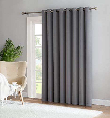 Nicole - 1 Patio Extra Wide Premium Thermal Insulated Blackout Curtain Panel - 16 Grommets - 102 Inch Wide - 84 Inch Long - Ideal for Sliding and Patio Doors (1 Panel 102x84, Light Grey)