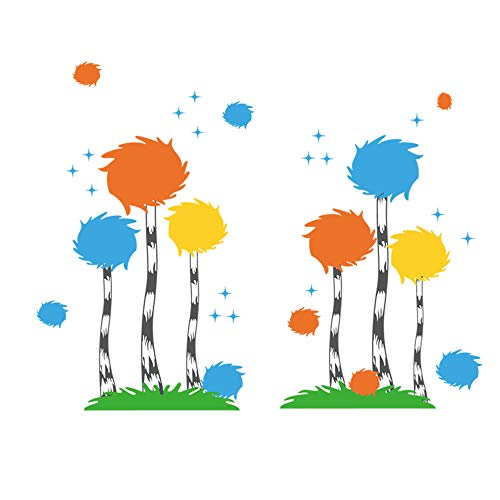 decalmile Dr. Seuss The Lorax Truffula Tree Wall Decals Kids Wall Stickers Baby Nursery Childrens Bedroom Playroom Wall Decor