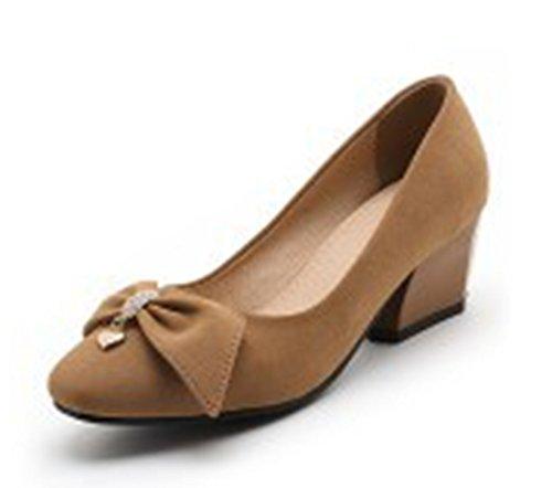 To Work Heels Toe Womens Shoes Professional Pumps Bowknot Block Slip Medium Brown Dress Square Wear Aisun On gxtOqw7q