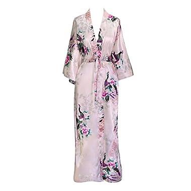 Old Shanghai Women's Kimono Robe - Peacock & Blossoms (Long) - Light Pink (on-seam pocket)