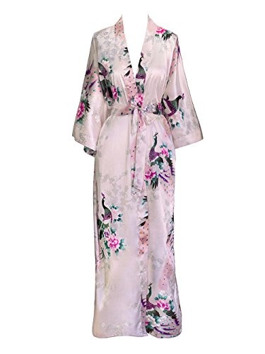 French Floral Robe - Old Shanghai Women's Kimono Long Robe - Peacock & Blossoms - Light Pink (on-seam pocket)