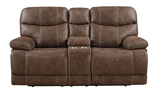 Emerald Home Earl Brown Loveseat with Faux Leather Upholstery, Dual Reclining Seats, And Pillow Arms