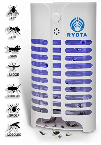 RYOTA Electric Bug Zapper with UV Light | Electronic Mosquito Repellent | Plug-in Indoor Insect Killer | Nontoxic