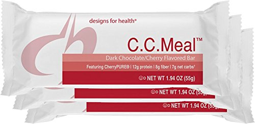 Designs for Health - C.C Meal - Low-Glycemic Food Bar + 12g Protein + Dairy-Free + Prebiotic Fiber, 12 (Fibre Bar)