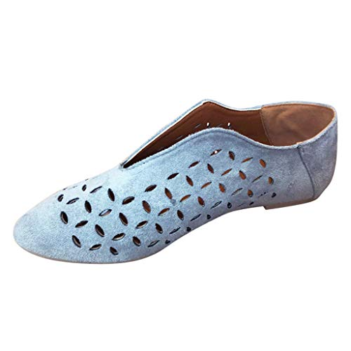 Women'sFlat Shoes ◆◆HebeTop◆◆ Hollow Decorative Sandals Rome Strappy Gladiator Casual Shoes Blue