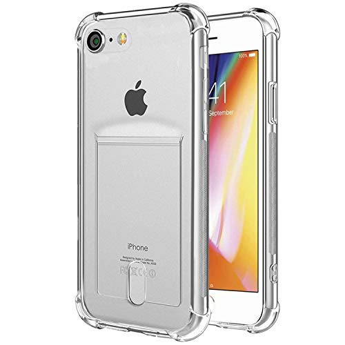 half off 76adf 77eb9 ANHONG iPhone 7,iPhone 8 Case with Card Holder, [Slim Fit] Protective Soft  TPU Shock-Absorbing Bumper Floral Case with Soft Screen Protector, ...