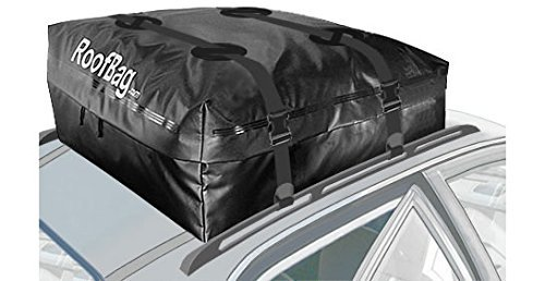 Carrier Waterproof Rooftop (RoofBag 100% Waterproof, Made in USA, Premium Triple Seal for Maximum Protection, 2 Yr Warranty, Fits ALL Cars: With Side Rails, Cross Bars or No Rack, Rooftop Cargo Carrier includes Heavy Duty Straps)