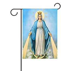 """lreraypo nuestra Señora de Guadalupe Virgen María Madre de Dios 28""""X 40"""" resistente a la decoloración jardín bandera"""