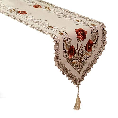 CCTFS Embroidered Floral Table Runner,Elegant Vintage Table Runners with Multi-Tassels for Tea Coffee Table Dresser Scarves Cabinet Dining Room Table Decoration (17x69 inch Table Runner)
