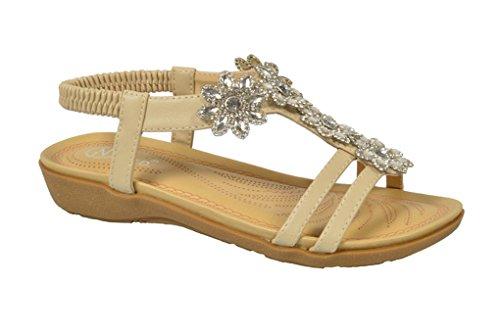 Golden Road G.N.D Women Shinny Flowers Summer Lady's Sandal #JS30 (10, Beige)