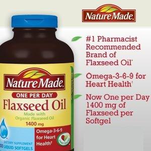 Nature Made huile de lin biologique, Omega-3-6-9 pour la santé cardiovasculaire, 1400 mg, 300 gélules liquides