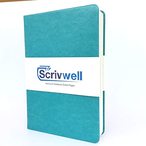 Scrivwell Dotted A5 Hardcover Notebook - 240 Dotted Pages with Elastic Band, Two Ribbon Page Markers, 100 GSM Paper, Pocket Folder - Great for Bullet journaling (Teal) ()