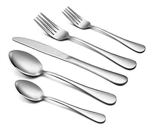 Silverware Set, 40-Piece Flatware Set, E-far Stainless Steel Utensil Set Service for 8, Dinner Knives/Forks/Spoons, Simple & Classic Design, Mirror Finish & Dishwasher Safe