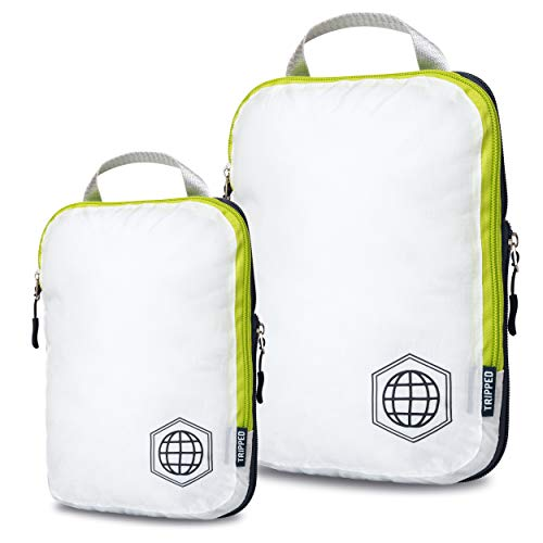 Packing Cubes Travel Organizer- Compression Travel Bags (White and Green, 2 Piece Set) (Double Rolled Handles)