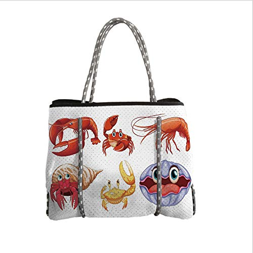 (Neoprene Multipurpose Beach Bag Tote Bags,Crabs Decor,Illustration of Sea Animals Like Crab Hermit Crab Lobster Shell Shrimp Print,Orange Yellow,Women Casual Handbag Tote Bags)