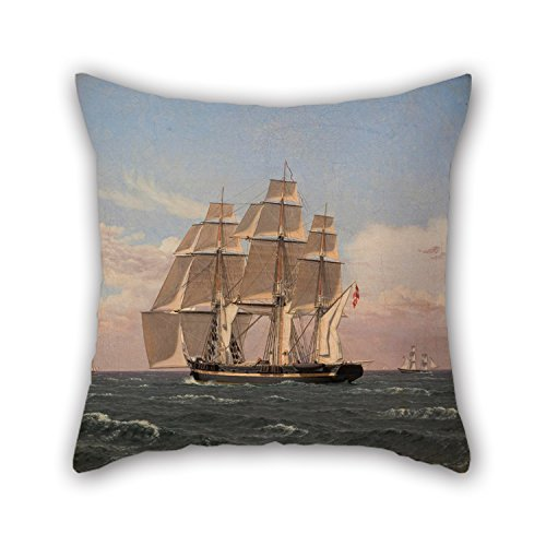 Alphadecor Throw Cushion Covers 18 X 18 Inches   45 By 45 Cm Each Side  Nice Choice For Son Study Room Teens Monther Teens Boys Chair Oil Painting Christoffer Wilhelm Eckersberg   The Corvette Najad