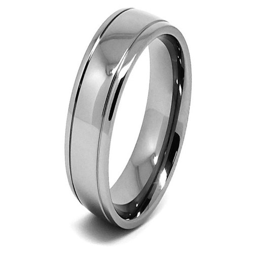 Ultra Thin 6mm Lightweight Titanium Double Grooved Wedding Band - Size 9.5 (9 1/2)