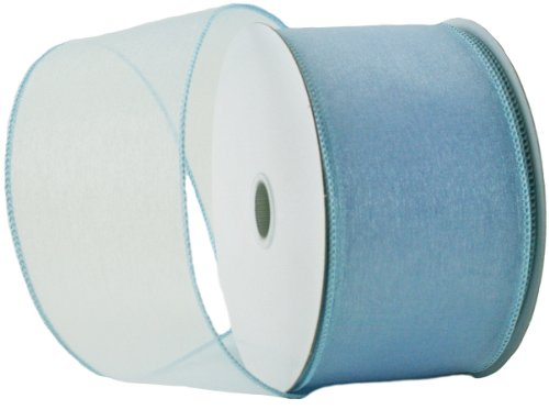 Wired Edge Organza Ribbon - Light Blue Roll of Ribbon - 25 yards (Ribbon Blue Organza Wired)