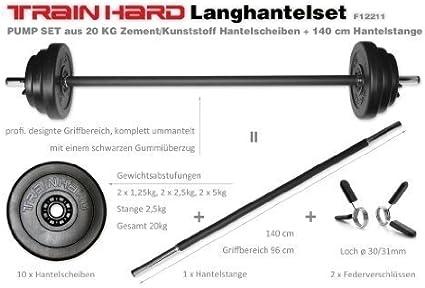 TrainHard® Langhantel Set Aerobic Bodypump Pump Set Langhantelset Hantelset 20KG