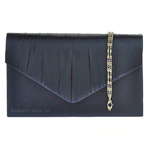 Satin Bag Bag TM Prom Navy blue Bag Ladies Bridal Envelope Bag Handbag Wedding Clutch Lace Evening Wocharm 06URqq