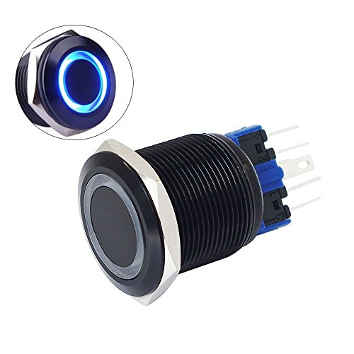 Yakamoz DC12V 22mm 7/8 [Mounting Hole] Blue Ring Led Light Momentary Push Button Switch Metal Industrial Boat Car DIY Switch Black