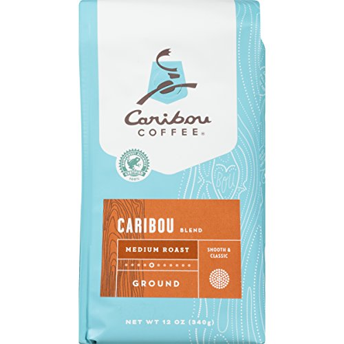 Caribou Coffee, Caribou Blend, Ground, 12 oz. Bags (2 Pack), Smooth & Balanced Medium Roast Coffee Blend from the Americas & Indonesia, with A Rich, Syrupy Body & Clean Finish; (Coffee Finish)