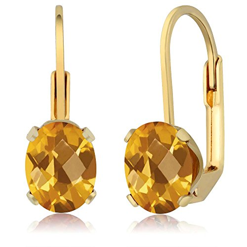 Beautiful Oval Checkerboard Shape (2.50 Ct Oval Checkerboard Shape Citrine Yellow Gold Plated Brass Dangle Earrings)