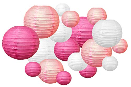 18 Pc Paper Round Lantern for Birthday Bridal Wedding Baby Shower Festival Party Decoration - Great for Indoor or Outdoor (Pink) -