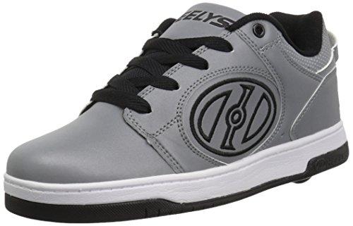 Heelys Boys' Voyager Tennis Shoe, Grey Reflective/Black, 3 Medium US Big Kid