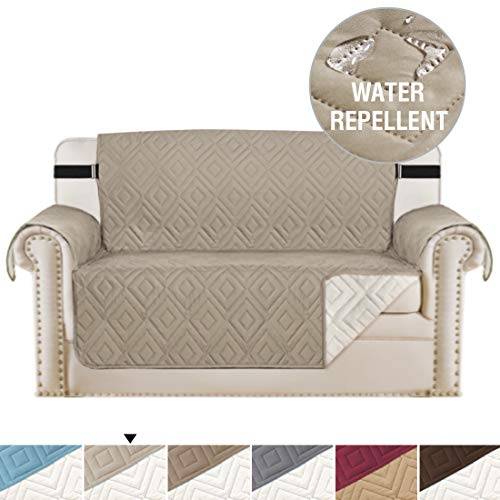 Water Repellent Reversible Loveseat Covers for Dogs, Couch Covers for Dog, Sofa Cover Sofa Slipcover Sofa Protector for Pets, Machine Washable Furniture Cover with 2