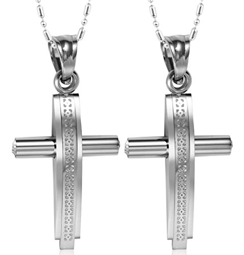 Costume Sims Diamond (Daesar Hers & Hers Necklace Set Couples Stainless Steel Link Convex Crucifix Cross Pendant Necklace)