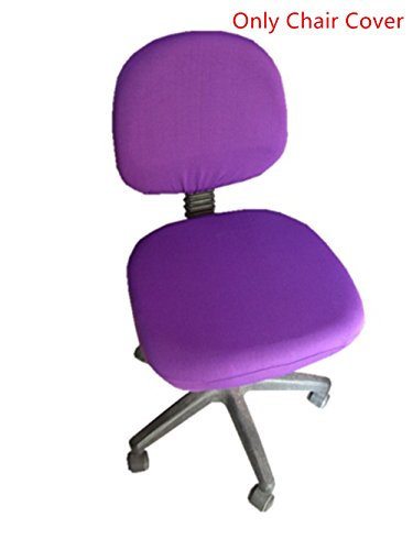 Office Desk Rotating Chair Seat Slipcover Doptou Universal Chair Cover Pure Color Machine Washable Stretch Spandex Computer Chair Covers (Purple)