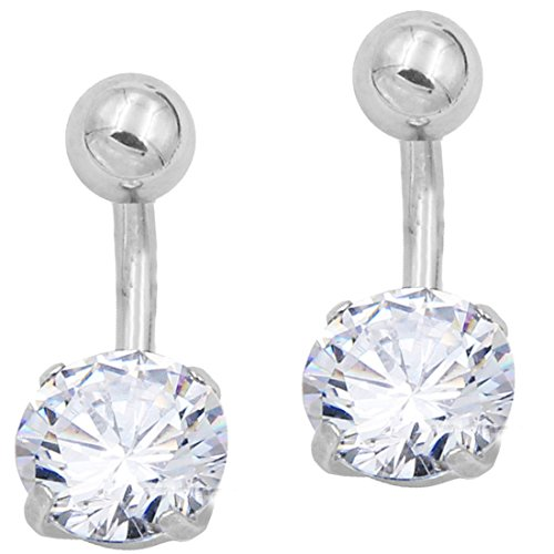 THENICE Short Paragraph Rough Short Needle Silver White Rock Navel Nail Navel Ring (Silver,Rod length 6 mm) (Rock Belly Button Rings)