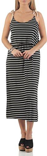 malito Vestido rayas Navy-Look Vestido de la Playa 8159 Mujer Talla Ùnica negro