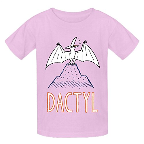 Dactyl Dinosaur Funny Kid's Crew Neck Cotton Tees Pink
