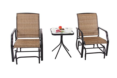 PHI VILLA Patio 3 PC Swing Glider Sets Textilene Rocking Chairs With 2 Chairs and 1 Table, Brown by PHI VILLA