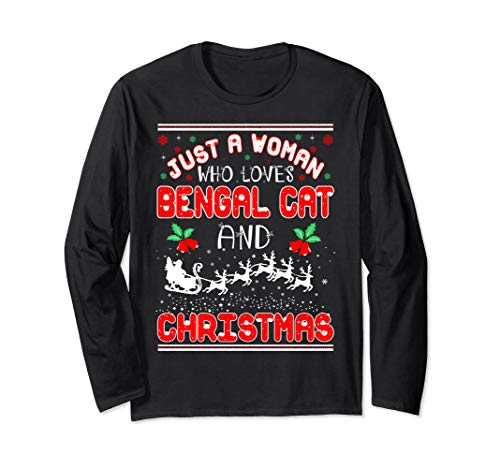 Just Woman Who Loves Bengal Cat And Christmas Ugly Sweater