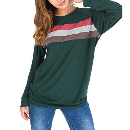 a Tinta e Donna Contrasto Lunghe Lunga Army Manica da T con Tondo MUCHAO Shirt in a Green Maniche Unita Scollo RwfqxOap