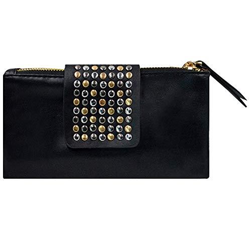 Felice Women Soft Leather Wristlet Clutch Folded Rivets Zipper Wallet Evening Bag (Black)