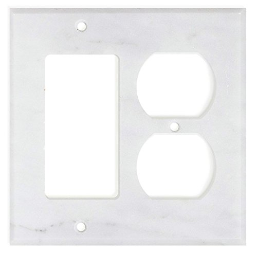 Italian Carrara White Marble Switch Plate Cover, Honed (ROCKER DUPLEX)