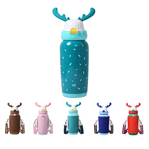 Bottle Face - FACE Water Bottle for Kids with BPA Free Sippy Straw Thermos Vacuum insulated Stainless Steel Drink Cup Cute Style 15OZ/450ML(Green)