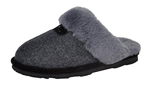 BEARPAW Women's Loki II Scuff Slipper, Grey Wool/Grey Fur, 8 B(M) US by BEARPAW